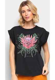 Camiseta Colcci Estampada Bordado Manual Feminina - Feminino