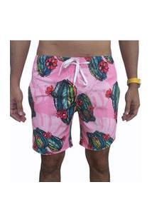 Bermuda Short Moda Praia Opice Estampado Rosa