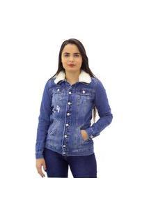 Jaqueta Jeans Feminina Detalhe Em Pelos Naraka