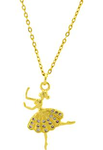 Gargantilha Horus Import Bailarina Strass Banhada Ouro Amarelo 18 K - 1061165 - Tricae