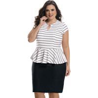 Madame Chic. Vestido Plus Size Peplum Bicolor 75e521a0c84