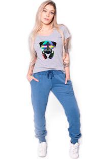 Camiseta Longline Kruger'S Concept Pug Dj Cinza - Kanui
