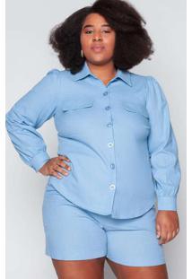 Camisa Almaria Plus Size Tal Qual Linho Azul