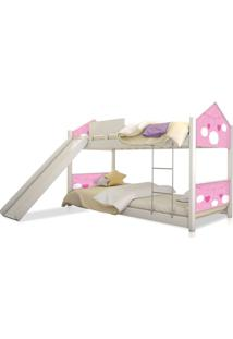 Beliche Prime Casa Juvenil Nuvem Menina Com Escorregador Casah - Branco/Rosa - Menina - Dafiti