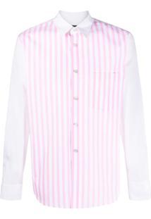 Comme Des Garçons Homme Plus Camisa Mangas Longas Com Listras - Rosa