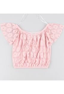 Blusa Infantil Ombro A Ombro Em Renda Manga Curta Rosa
