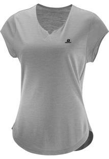 Camiseta Salomon X Ss Feminino Gg Cinza