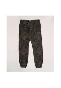 Calça De Sarja Juvenil Jogger Estampado Camuflado Verde Militar