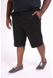 Bermuda Kauê Plus Size Color Confort Masculina - Masculino-Preto