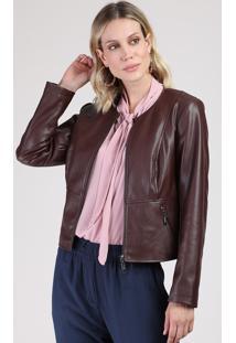 Jaqueta Feminina Com Bolsos Vinho