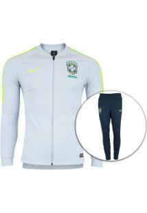 92c152fbbddea Agasalho De Treino Da Seleção Brasileira 2018 Nike - Masculino - Cinza  Cla Azul Esc