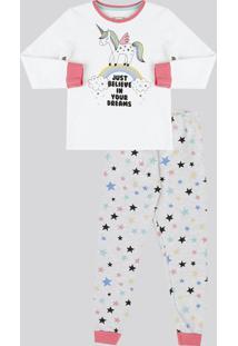 Pijama Infantil De Unicórnio Com Glitter Em Moletom Manga Longa Cinza Mescla da3ab0d8c62