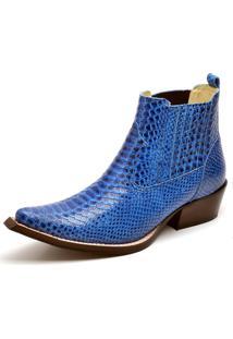 Bota Botina Country Couro Bico Fino Gaspariano Calçados Azul