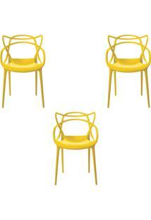 Kit 3 Cadeiras Decorativas Sala E Cozinha Feliti (Pp) Amarela - Gran Belo - Amarelo - Dafiti