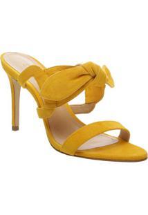 Tamanco Em Couro Com Laço - Amarelo- Salto: 7,7Cmschutz