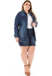 Jaqueta Jeans Barra Desfiada Plus Size Feminina - Feminino