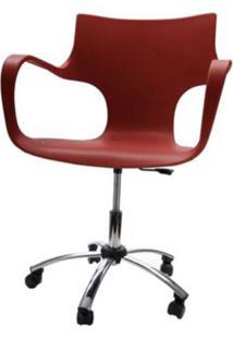 Cadeira Jim Base Giratoria Cromada Cor Chocolate - 22598 - Sun House