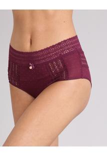 Calcinha Feminina Alta Hot Pant Em Tule Com Renda Vinho 090202cc994