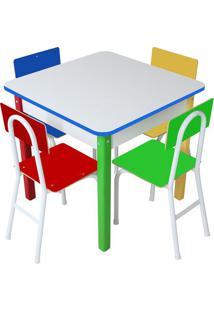 Mesa Com Cadeiras - Branca & Azul Escuro- 5Pã§S -Carlu