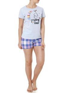 Pijama Curto Mundo Do Sono Feminino - Feminino-Azul+Lilás