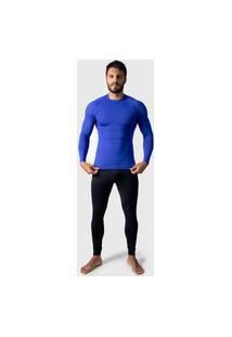 Camisa Térmica Adulto Masculina Segunda Pele Praia Surf Proteçáo Uv Esportiva 4 Estações Azul Bic