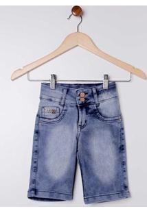 Bermuda Jeans Com Lavação Clara Juvenil Para Menina - Azul