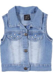 Colete Jeans Infantil Para Menina - Azul