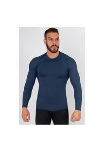 Camisa Bella Fiore Modas Térmica Poliamida Uv Segunda Pele Azul Marinho