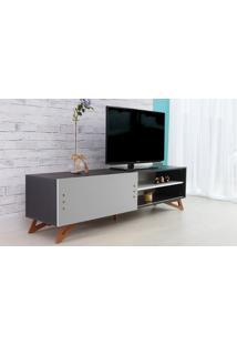 Rack Para Tv Preto Moderno Vintage Retrô Com Porta De Correr Cinza Freddie - 180X43,6X48,5 Cm