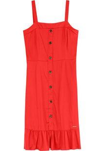 Vestido Vermelho Peplum Acetinado