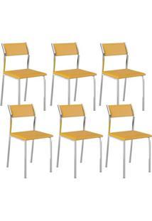 Cadeira 1709 Cromada 06 Unidades Amarela Carraro