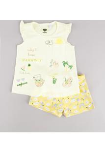 Conjunto Infantil De Regata Tropical Com Babado Off White + Short Estampado Amarelo