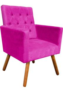 Poltrona Decorativa Nina Capitonê Suede Pink D'Rossi