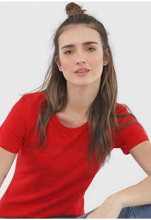 Camiseta Coca-Cola Jeans Aplicações Vermelha