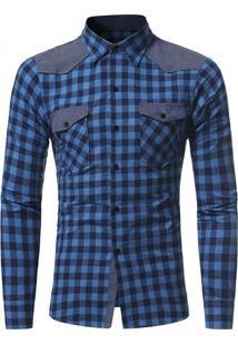 Camisa Masculina Slim Xadrez Manga Longa - Azul M
