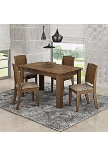 Conjunto Sala De Jantar Mesa 4 Cadeiras Bárbara Cimol Color Flex Savana/Café