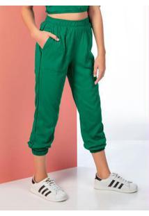 Calça Jogger Em Viscose Verde