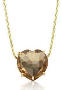 Colar Toque De Joia Coração Pedra Natural Quartzo Fumê - Feminino-Dourado
