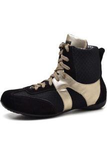Bota Treino Top Franca Shoes Fitness Preto / Dourado
