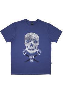 Camiseta Alkary Caveira Bmx Azul