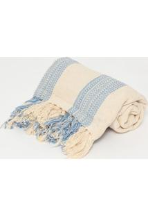 Manta Romantic Faixas- Bege Azul- 140X140Cm- Aartesanal