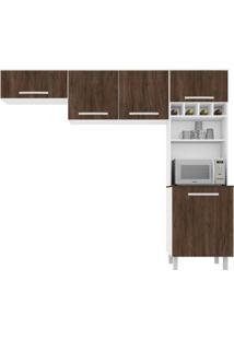 Cozinha Compacta Lorena 5 Pt Carvalho E Branco