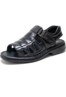 Sandália Conforto Ded Calçados Frente Aberta Preta