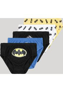 Kit De 5 Cuecas Infantis Batman Multicor
