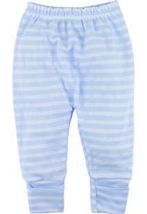 Calça De Bebê Com Pé Reversíve Alyaht Listras Azul Bebê - Kanui