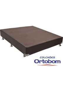 Box Casal - Corino Marrom - Ortobom - 128X188X23