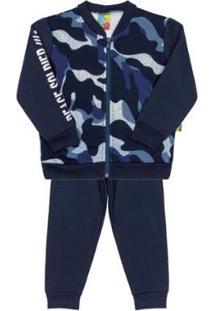 Conjunto Infantil Jaqueta E Calça Em Moletom Bee Loop Masculino - Masculino-Azul