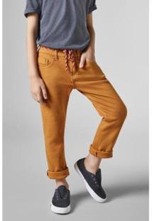 Calça Mini 5 Pockets Moletom Reserva Mini Masculina - Masculino-Amarelo Escuro