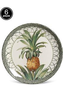 Conjunto 6Pçs Pratos De Sobremesa Porto Brasil Coup Pineapple Branco/Verde