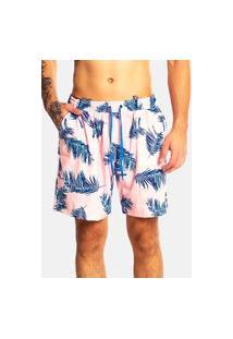 Bermuda Banho Shorts Praia Hammer Estampa Floral Rosa Tactel Com Elastano